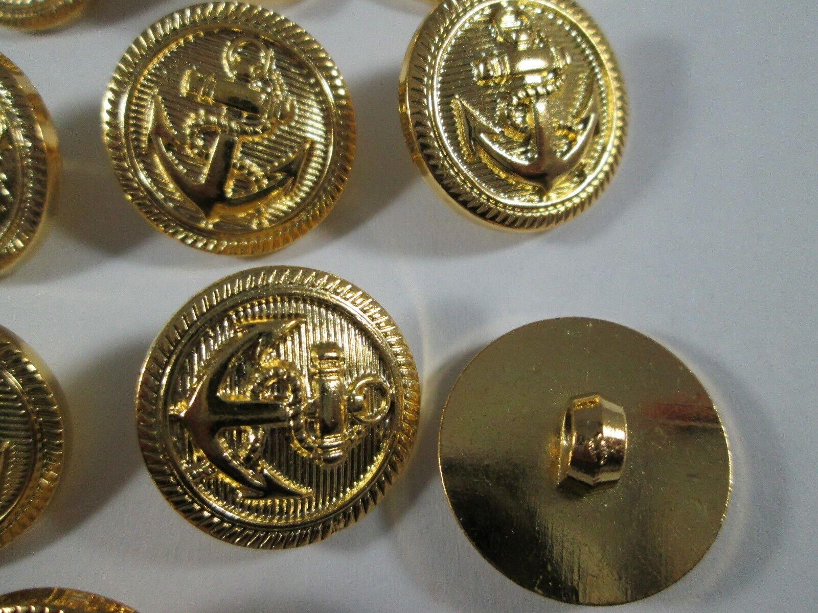 10 Stück gold Metall Knöpfe marine maritim Ösenknöpfe 13mm