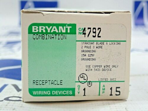 Bryant 4792 Combination Straight Blade & Locking Receptacle 15A 125V
