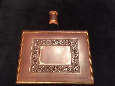 Luxury Bontrupe Carved Genuine Leather 24k Gold Gilded 2 Pc Desk Set Blotter Cup