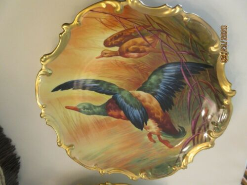 """FANTASTIC LIMOGES 15.5"""" CHARGER PLATE; GAME BIRD, A BRONSSILLON ARTIST, 1900"""
