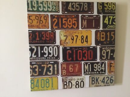 Wanted: 50x50 cm  American License  Plates Print