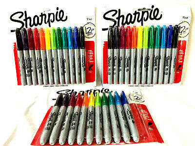 Sharpie Permanent Fine Tip Markers 12 Ct Lot Of 3 Packs