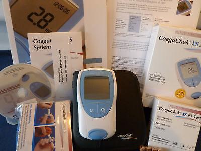 NEW Roche PT/INR CoaguChek XS Meter Monitor Test Kit ++ 48 Test Strips & Lancets