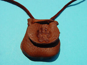 Wolf Paw Print Medicine Bag Leather Flap Pouch Buckskin Necklace 1020