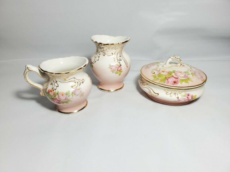 Anchor Pottery Semi Porcelain Floral Transferware  Pink Lot Of 3