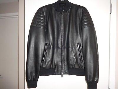 015c52171 HUGO BOSS Mervon Genuine Leather bomber Jacket black quilted NEW $795 size  50 IT