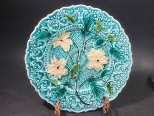 Beautiful Antique Majolica Plate Flowers and Sea Dragons c.1800