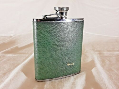 Vintage 1977 Harrods Hip Flask Green, 6 oz. Stainless Steel, Made in England
