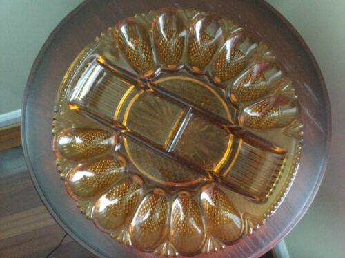 "Vintage Amber Glass Divided Deviled Egg/Relish Tray, 12 Eggs, 11"""