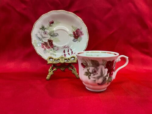Walbrzych Fine Porcelain Poland Teacup Saucer 40th Anniversary Red White roses