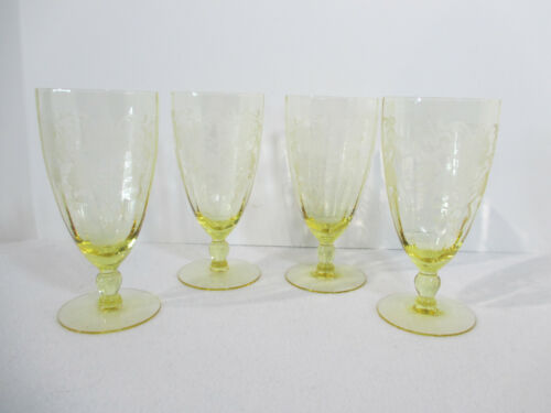 Water Goblets Lancaster Glass Patrick Yellow Footed Tumbler Flower 4pcs Vtg 1930