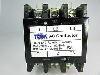 Definite Purpose Contactor 60amp-3poles-240volts 5060hz-heat Pump Ac Refriger