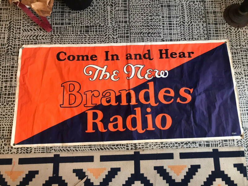 Vintage 1930s Brandes Radio Advertising Sign Banner Cloth Art Deco Nos