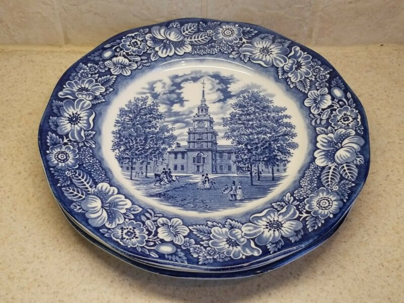 STAFFORDSHIRE CHINA LIBERTY BLUE INDEPENDENCE HALL 3 DINNER PLATES GREAT  SHAPE!