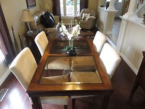 Dining Set With 4 White Microsuede Tall-Back Chairs Only $375