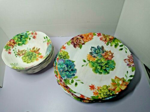 12 pc Pier 1 Melamine Soup Cereal Bowls and Dinner Plates Floral Hydrangeas