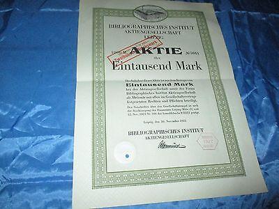 histor. AKTIE , Bibliographisches Institut AG LEIPZIG  1921 // 1000 Mark ,# 5661