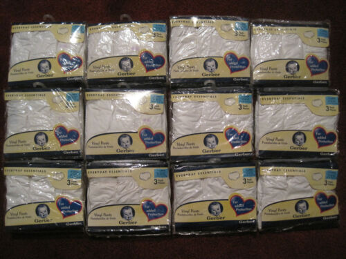 Lot 12 Gerber 3 pack vinyl baby pants diaper covers NWT size X-Large 25 - 30 lb