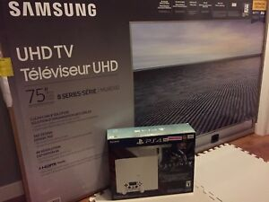 """white PS4 PRO with samsung 75"""" 4K tv"""