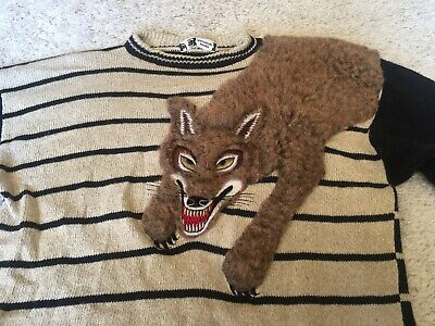 vintage 80's kansai yamamoto embroidered wolf sweater