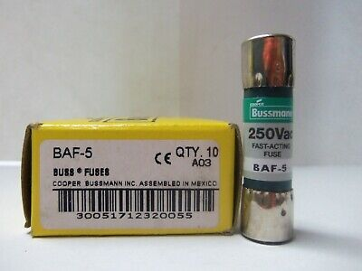 New Lot Bussmann Baf-5 5 Amp Fuses 250 Volts Nib