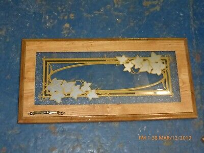 RV Camper Frosted Etched Glass Cabinet Door LH Leaves Gold Tone 23x12