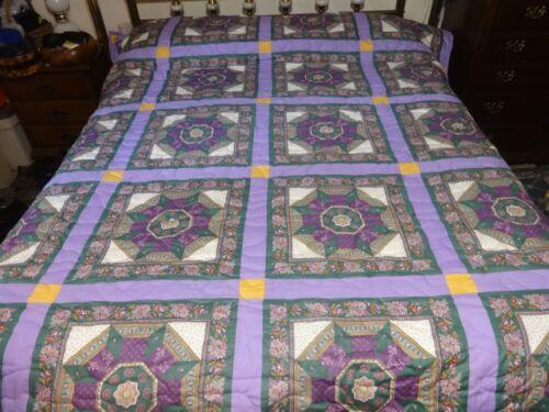 Vintage Fabric Purple Large Handmade Quilt.