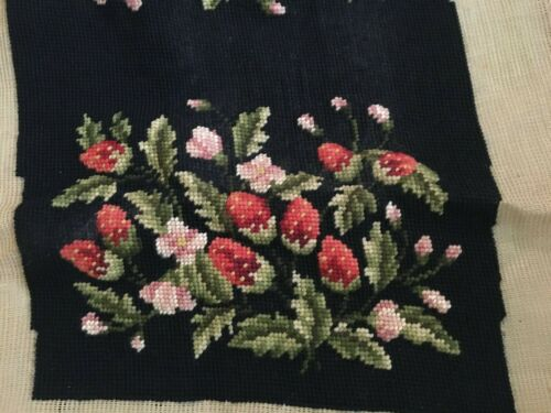 Pre-worked Needlepoint Strawberry Floral on Black Pattern French Luxury Canvas