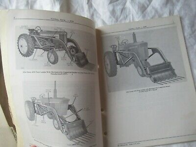 1965 John Deere 45w Farm Loader Parts Catalog Manual Book