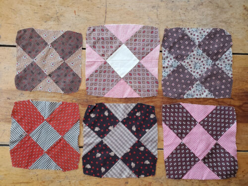 6 Antique Vtg Fabric Quilt Blocks Madder Brown Red LOT Hand Sewn Patches 1870