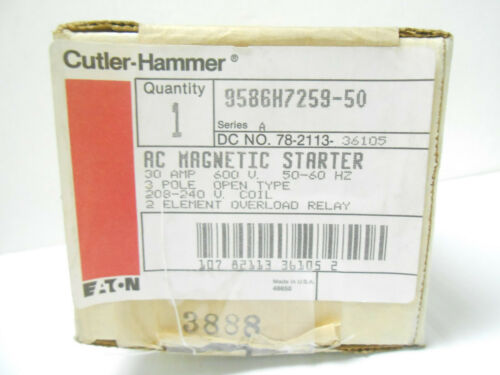 9586H7259A CUTLER-HAMMER MOTOR STARTER, 3 PHASE/ 3 POLE NEW OLD STOCK