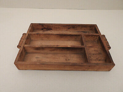 Antique Vintage Rustic Country Primitive Wooden Cutlery Tray Drawer