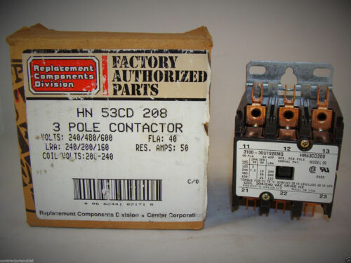New Overstock Carrier HN53CD208 3-Pole Contactor 208/240VAC 40 FLA