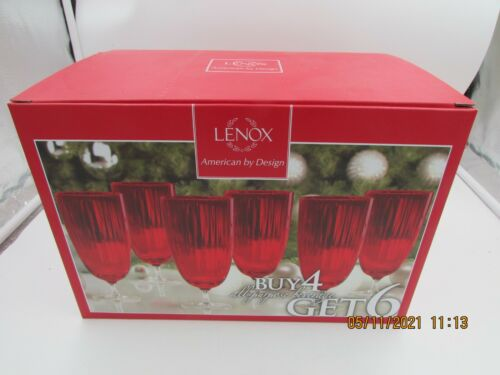 "Vintage Lenox Holiday Optic RED 7 1/4"" Tall All Purpose 16 oz Goblets  Set of 6"