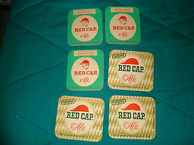 6 Red Cap Ale Beer Brewery Coasters Original & Vintage Breweriana!!