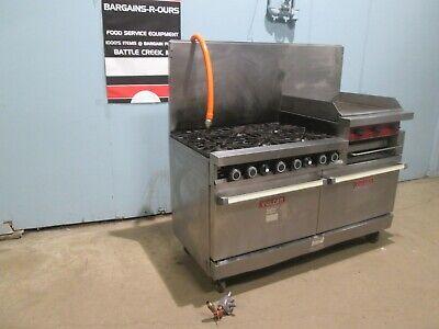 Vulcan 260l Hd Commercial Nat Gas 6 Burners Stove Woven Griddle Salamander