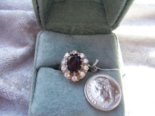 Antique Art Deco Platinum & 18K Gold Halo Sapphire & Diamond Ring