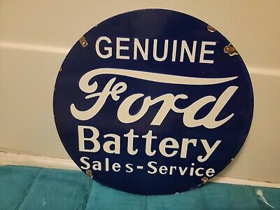 Vintage Ford Battery Sales And Service Porcelain Sign Automotive Farm Hunting