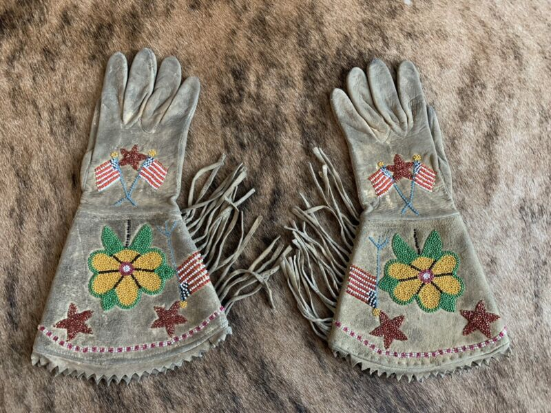Native American Shoshone Tribe Beaded Gauntlets