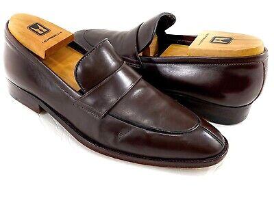 A.testoni Black Label Men's Brown Penny Loafers Split Toe Shoes 8 M
