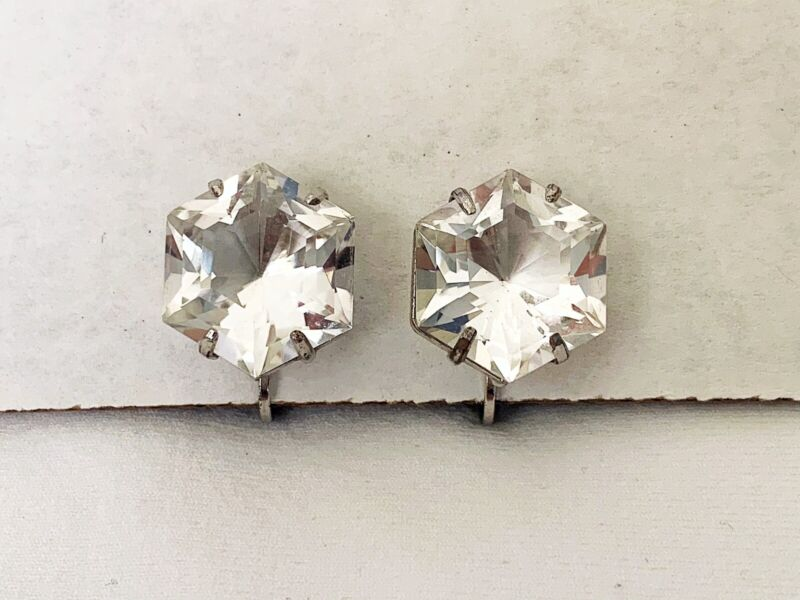 Vintage Antique Art Deco Rock Crystal Paste Open Back Japan Sterling Earrings
