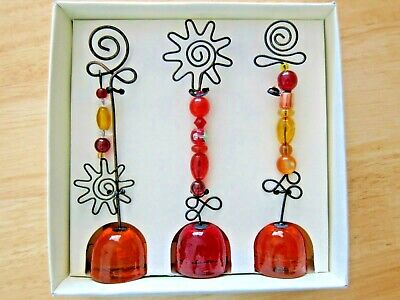 Pier One Photo Note Card Holder Beaded Twisted Wire Amber Base Set of 3 NEW