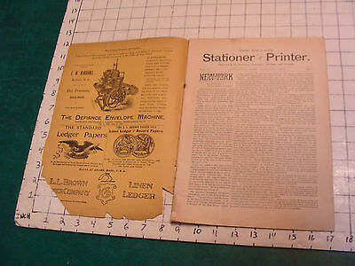 New England STATIONER & PRINTER feb. 1892 very scarce Magazine-PENS, CUTTERS, ET