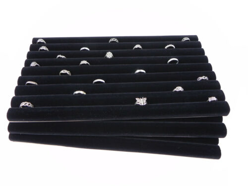 THREE Black Velvet Jewelry Ring Display Continuous Row Tray Insert Slot Rings
