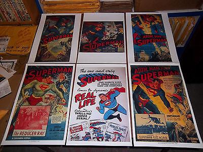 "6 SUPERMAN POSTERS MOVIE SERIAL COPY 11""X17"" COMICS COLUMBIA ATOM MAN KIRK ALYAN"