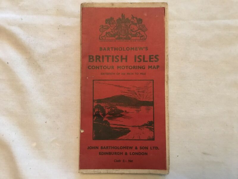 Bartholomew's  BRITISH ILES Vintage Cloth Contour Motoring Map