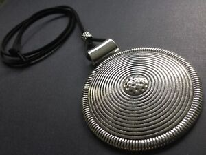 Black Suede Long Necklace With A Huge Statement Silver Hammered Disc Lagenlook