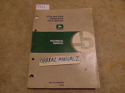 John Deere F510 F525 Homeowner Front Mower Technical Manual Tm 1475