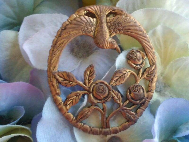 Antique Art Nouveau Bronze Finish Dove And Roses Fur Clip