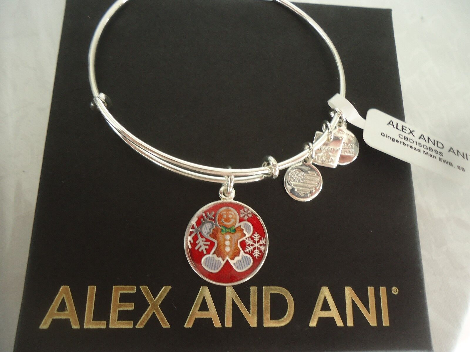 Alex And Ani Alex & Ani Cbd15gbss Gingerbread Man Dana-farber Expandable Bracelet Silver-tone